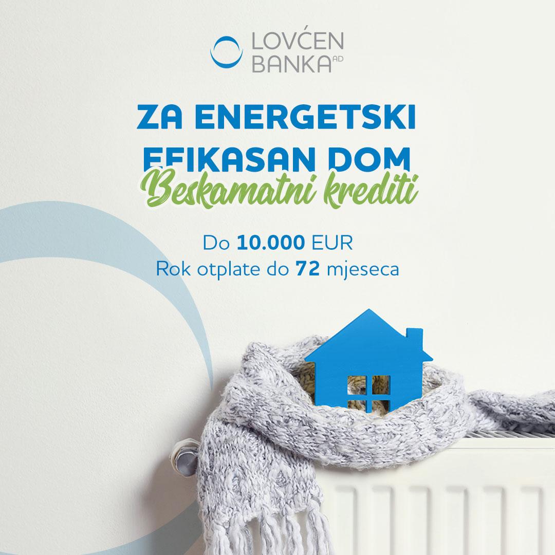 """Lovćen banka u projektu """"Energetski efikasan dom"""""""